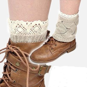 Cute Knitted Lace Accent Boots Topper Socks Legwarmer Neutral/Beige