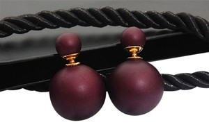 New Matte Violet Double Pearl Stud Earrings