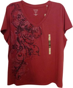 Sonoma V-neck T-shirt Comfortable T Shirt Lifestyle Everyday Brick Red 2x