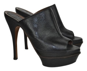 Marni Leather Peep Toe Black Mules