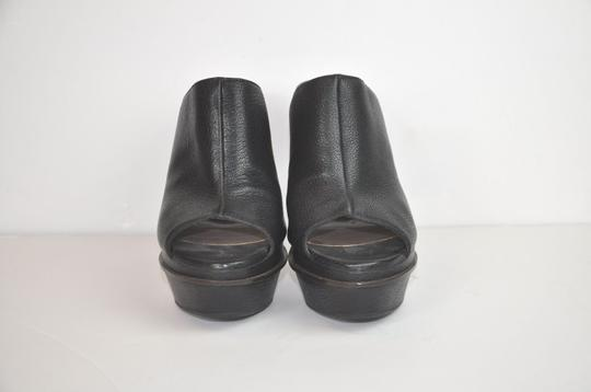 Marni Leather Peep Toe Platform Made In Italy Black Mules