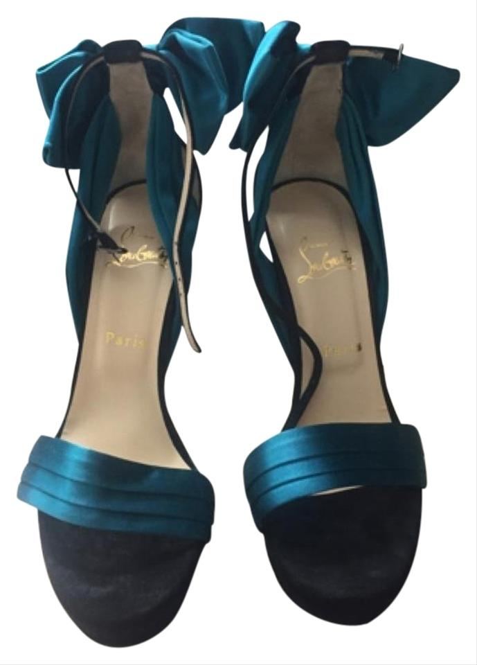 size 40 0e768 ffcc6 Christian Louboutin Black/Teal Vampanodo 140mm Platforms Size US 9.5  Regular (M, B) 44% off retail