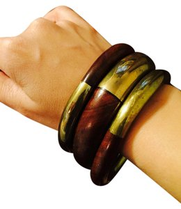 Wooden and Brass Bangles set of 3