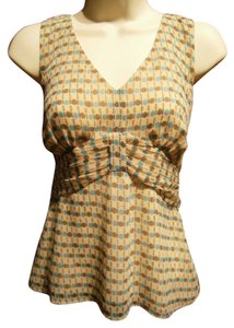 Ann Taylor LOFT Size 2 Empire Waist Sleeveless V-neck Lined Tan Brown Turquoise Polyester Gathered Bodice Hidden Zipper Career Casual Top Multi-Colored