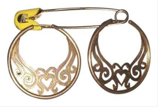 """Other Silver Filigree Hearts 2"""" Hoops"""