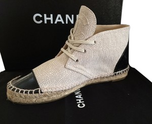 Chanel Crackle Leather Light Beige and Black Boots