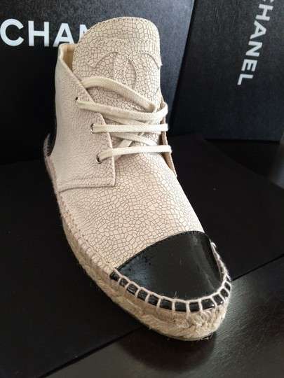 Chanel Size Sneakers Espadrille Light Beige and Black Boots