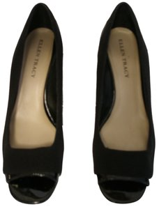 Ellen Tracy Patent Leather Fabric Black Wedges