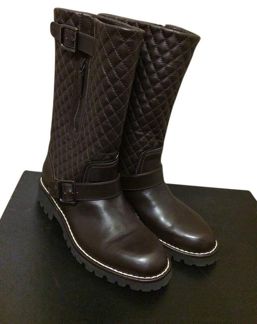 Item - Brown Quilted Leather Mid Calf Motorcycle Weather Boots Pumps Size US 7 Regular (M, B)