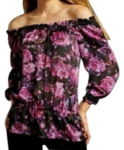 INC International Concepts Silk Peasant Peplum Petite Floral Top Purple Black