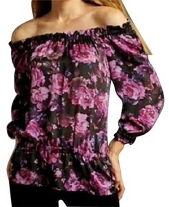 INC International Concepts Silk Floral Peasant Peplum Top Purple Black