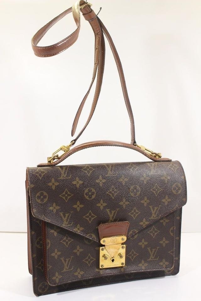 6a924ff16ed5 Louis Vuitton Monceau Briefcase Computer Brown Monogram Canvas Cross Body  Bag