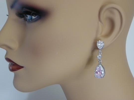 White Cubic Zirconia Teardrop Sparkly Crystal Dangle Bridesmaid Gift Earrings Image 3