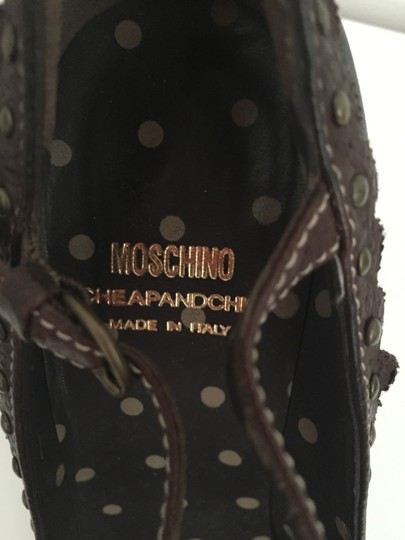 Moschino Leather Ankle Strap Black with Brown trim Pumps