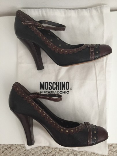 Moschino Leather Ankle Strap Black with Brown trim Pumps Image 5