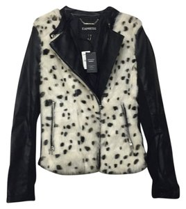 Express Leopard Leather Faux Leather Motorcycle Jacket