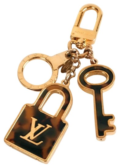 Louis Vuitton Authentic Louis Vuitton Brass & Tortoise Shell Padlock and Key Bag Charm Image 0