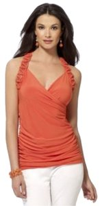 Cache Macrame Racer-back Racerback Bright Textured Ruched Plunge Sexy Sleeveless Sleek Date Night Casual Bold Stretchy Wrap Top Orange