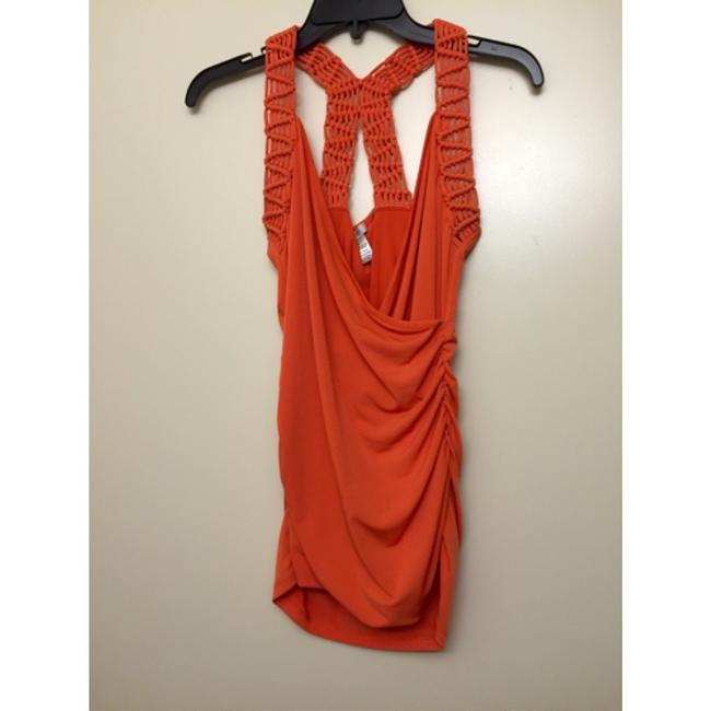 Cache Macrame Racer-back Racerback Bright Textured Sexy Sleeveless Sleek Date Night Casual Bold Stretchy Wrap Scoop Back Top Orange