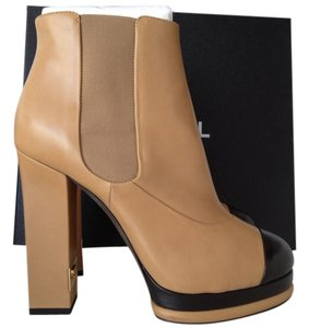 Chanel Beige Leather BEIGE/BLACK Boots