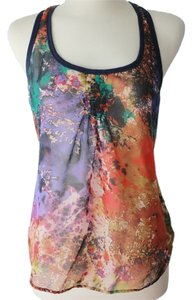 Xhilaration Watercolor Galaxy Space Print Nova Super Nova Blue Multi Flowy Silk Silky Boho Bohemian Tie Dye Racer-back Racer Top Multi-color
