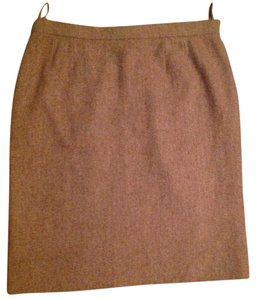 Chanel Made In France Wool/nylon/mohair Skirt Tan & Creme