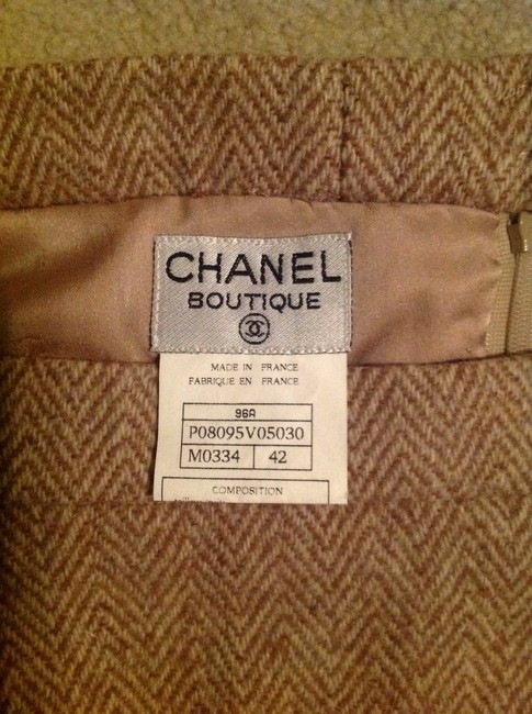 Chanel Made In France Wool/Nylon/Mohair Skirt Tan & Creme Image 6
