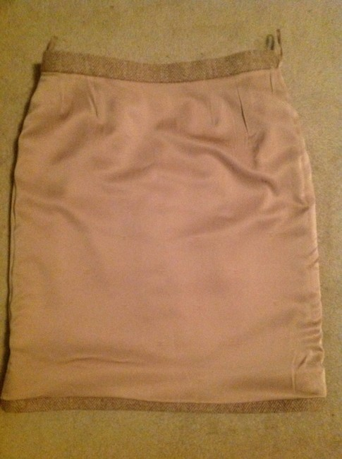 Chanel Made In France Wool/Nylon/Mohair Skirt Tan & Creme Image 7