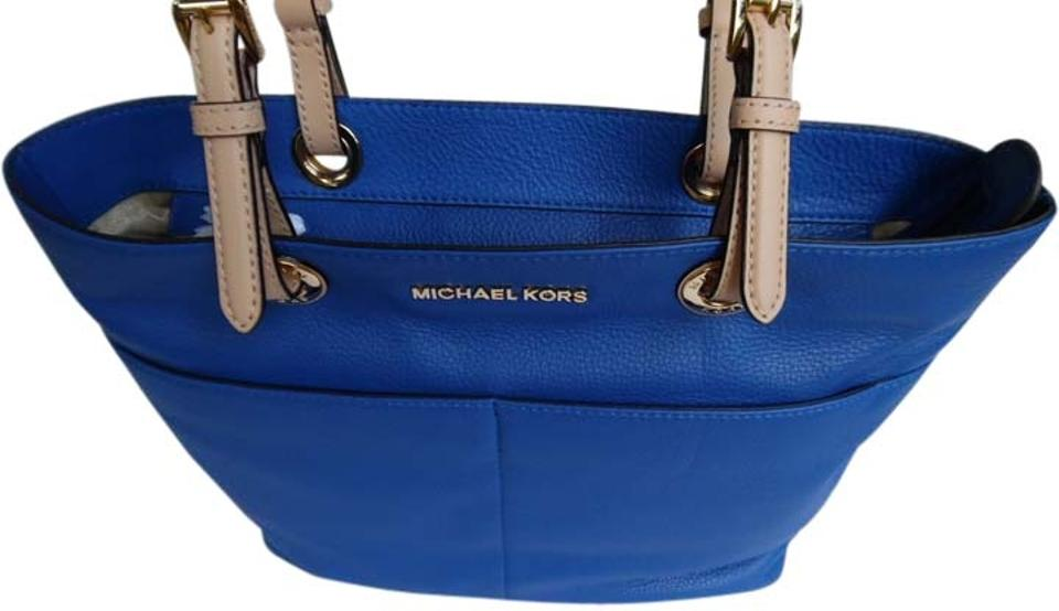 Michael Kors Bedford Top Zip Soft Pebbled Pocket Electric Blue Leather Tote 14% off retail