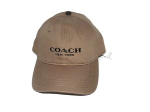 Coach Coach Logo Embroidered Dark Khaki Adjustable Baseball Cap Hat, OS 86005 ($75)
