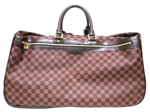 Louis Vuitton Vintage Leather Damier Ebene Brown Travel Bag