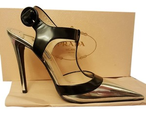 Prada Heels silver and black Pumps