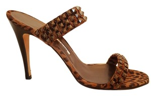 Manolo Blahnik Animal Print Studded BROWN Sandals