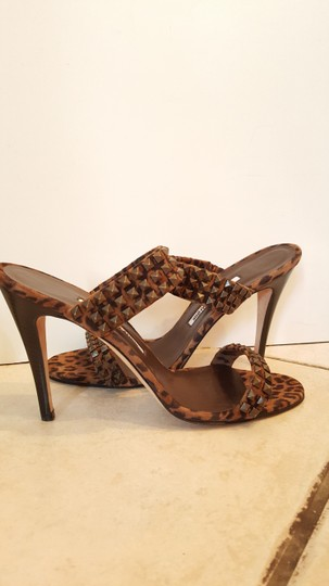 Manolo Blahnik Animal Print Studded BROWN Sandals Image 1