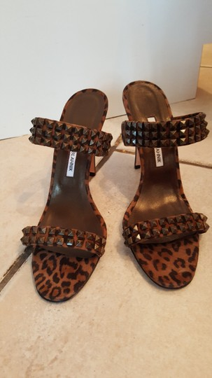 Manolo Blahnik Animal Print Studded BROWN Sandals Image 5