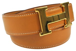 Hermès AUTHENTIC HERMES H BUCKLE BELT CONSTANCE BROWN GOLD FRANCE VINTAGE NR00465