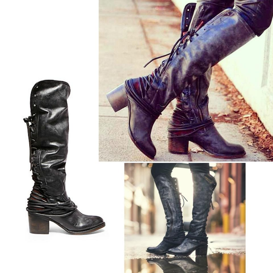 496b1d638e2 FreeBird Black This Season New By Steven Coal Leather Knee-high Boots  Booties