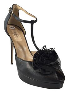 Valentino Tstrap Black Sandals