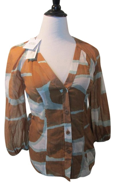 Diane von Furstenberg Designer Silk Top Brown/Blue