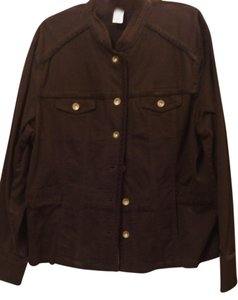 Jones New York Stretchy Plus-size Nwot Machine Washable Brown Womens Jean Jacket