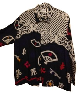 Chico's 100% Silk Asian Inspired Top black, white, red, deep purple