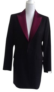Dana Buchman New Elegant. Long Evening Wear Black with Eggplant Lapels Jacket