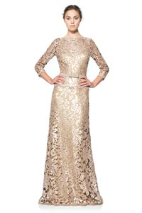 Tadashi Shoji Bronze/Champagne With A Shimmer Paillette Lace 3/4 Sleeve Gown Dress