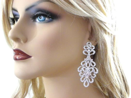 White Chandelier Long Chandelier Crystal Earrings Image 0