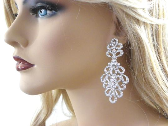 White Chandelier Long Chandelier Crystal Earrings Image 1