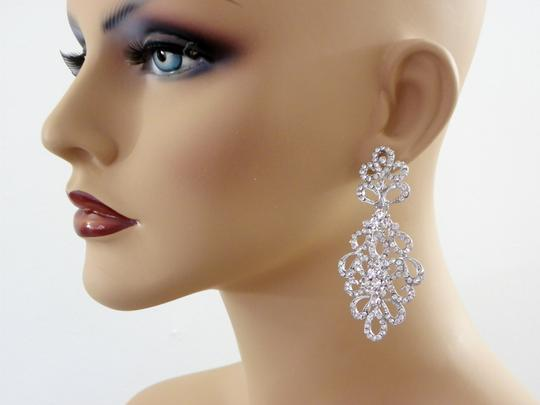 White Chandelier Long Chandelier Crystal Earrings Image 3