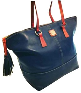 Dooney & Bourke Tote in Air Force Blue/Saddle