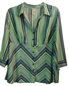 Giorgio Fiorlini Plus-size Empire Waist Top Multi Color Striped