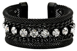Other Black Metal Chain Crystal Accent Cuff Bracelet