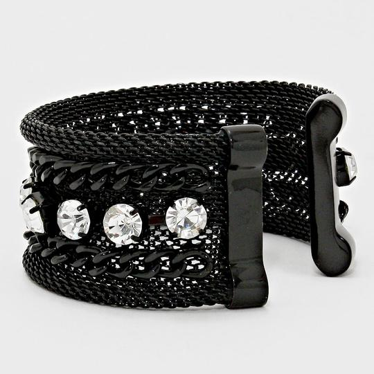 Other Black Metal Chain Crystal Accent Cuff Bracelet Image 1